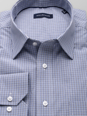 Niebieska klasyczna koszula w kratkę