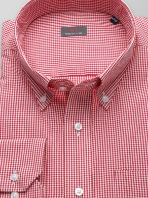 Czerwona Klasyczna koszula w kratkę