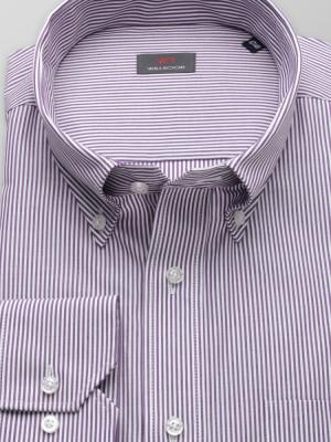 Fioletowa klasyczna koszula w paski