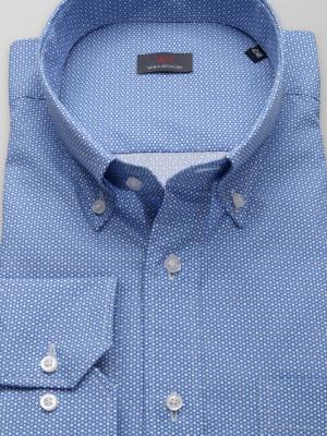 Niebieska klasyczna koszula w groszki
