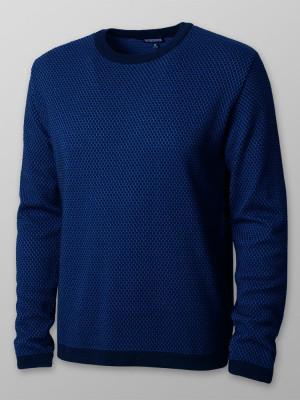 Granatowy sweter w drobny wzór
