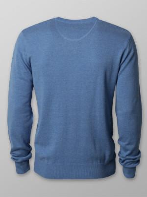 Niebieski gładki sweter