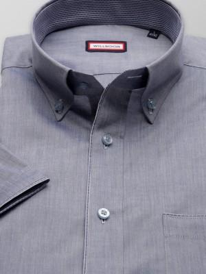 Klasyczna popielata koszula z kontrastami