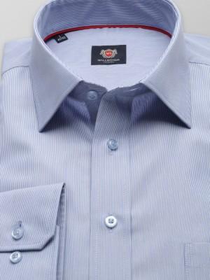 Błękitna taliowana koszula w biały prążek
