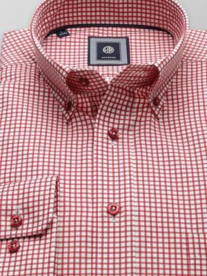 Biała klasyczna koszula w czerwoną kratkę