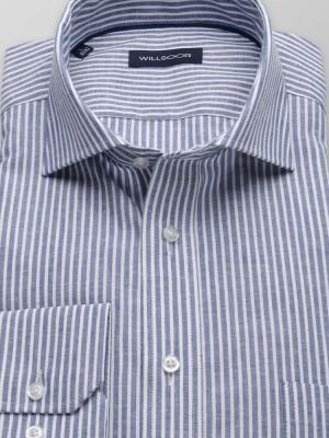 Niebieska taliowana koszula w paski