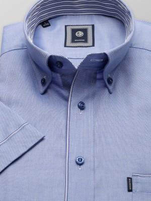 Niebieska taliowana koszula z kontrastami