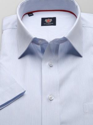 Błękitna taliowana koszula w prążki