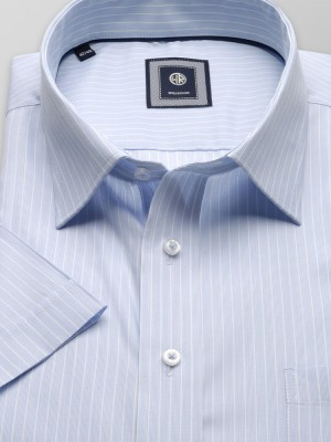 Błękitna klasyczna koszula w prążki