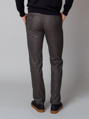 Brązowe spodnie męskie w kratkę glencheck