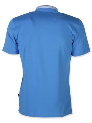 Niebieska koszulka polo ze stójką
