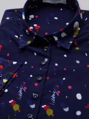 Granatowa bluzka oversize w kolorowe plamki