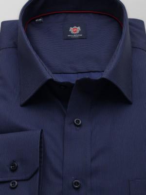 Granatowa klasyczna koszula w drobny prążek