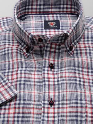 Lniana taliowana koszula w kratkę