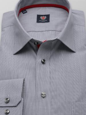 Szara taliowana koszula w drobny prążek