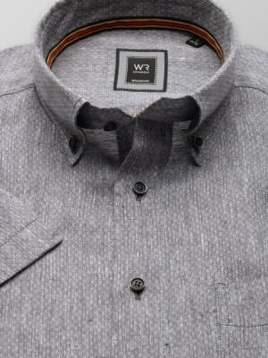 Szara lniana klasyczna koszula