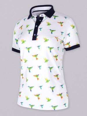 Biała koszulka polo w kolibry