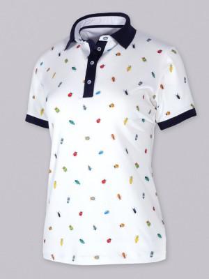 Biała koszulka polo w owady