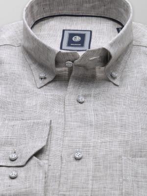 Szaro-beżowa lniana klasyczna koszula