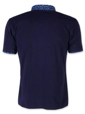 Granatowa koszulka polo z podpinanym kołnierzykiem