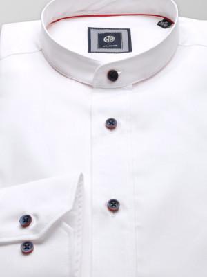 Biała taliowana koszula ze stójką