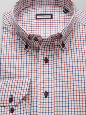 Biała klasyczna koszula w granatowo-pomarańczową kratkę