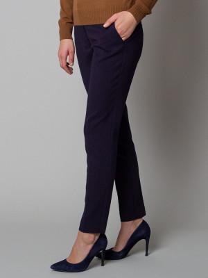 Granatowe spodnie garniturowe w kropki