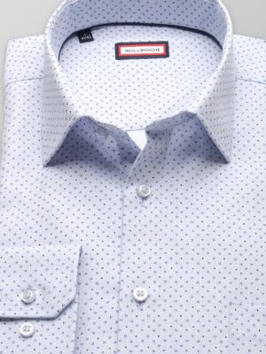 Popielata klasyczna koszula w drobne trójkąty