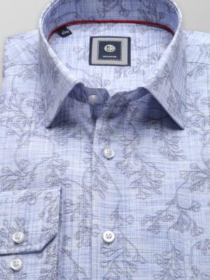 Błękitna klasyczna koszula w kwieciste wzory
