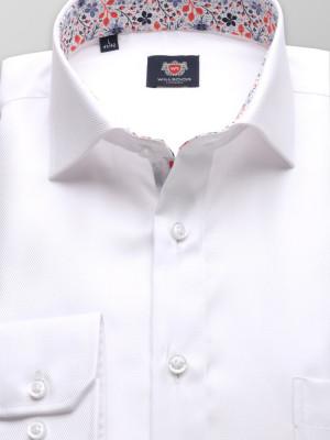 Biała klasyczna koszula z kontrastami w kwiaty