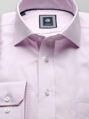 Wrzosowa taliowana koszula w pepitkę