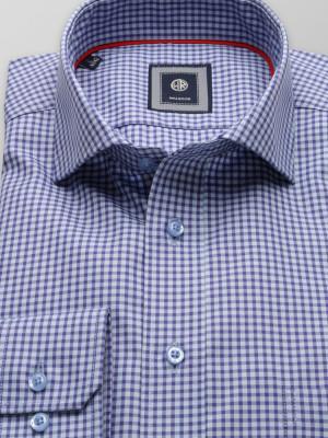 Klasyczna koszula w granatowo-niebieską kratkę