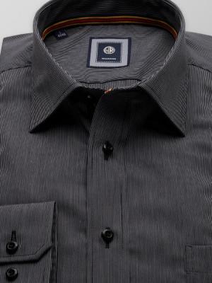 Szaro-grafitowa taliowana koszula w prążek