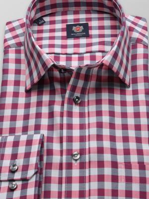 Rożowo-szara taliowana koszula w kratę