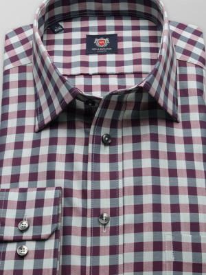 Fioletowo-szara taliowana koszula w kratę