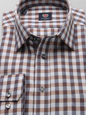 Brązowo-szara klasyczna koszula w kratę