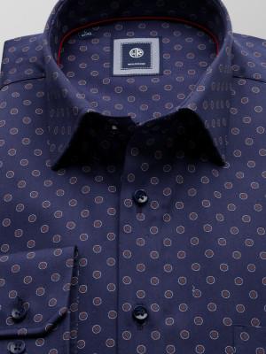Granatowa klasyczna koszula w kropki