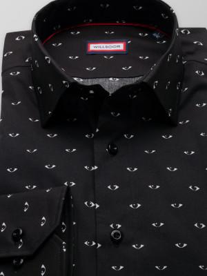 Czarna klasyczna koszula w kontrastowe oczy