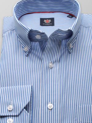 Taliowana koszula w błękitne i białe paski