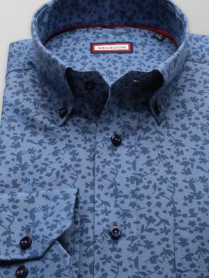 Niebieska klasyczna koszula w kwieciste wzory