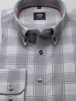 Szara klasyczna koszula w kratkę