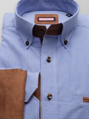 Niebieska taliowana koszula w drobną kratkę