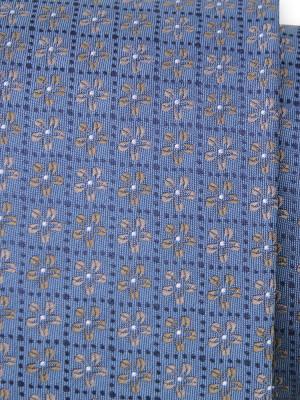 Niebieski jedwabny krawat w kwiatki