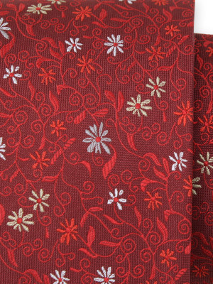 Czerwony jedwabny krawat w kwiatki