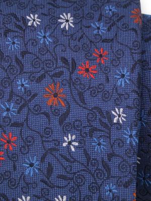 Granatowy jedwabny krawat w kwiatki