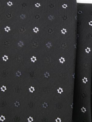 Czarny wąski krawat w kwiatki