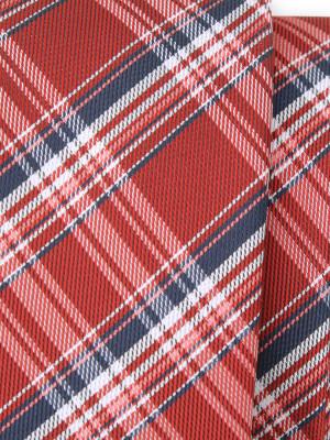 Wąski czerwony krawat w kratę