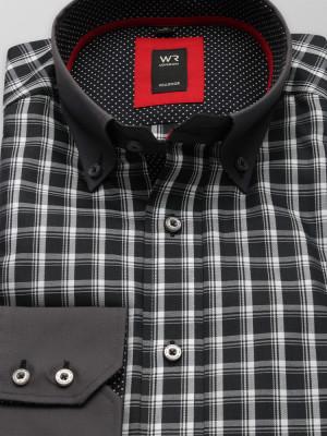 Czarna taliowana koszula w białą kratkę