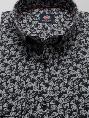 Czarna klasyczna koszula w muszle