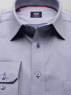 Popielata taliowana koszula w jodełkę